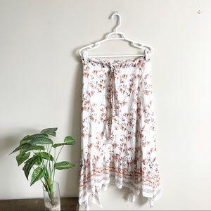 Chelsea & Violet Floral Dot Ruffle Midi Skirt